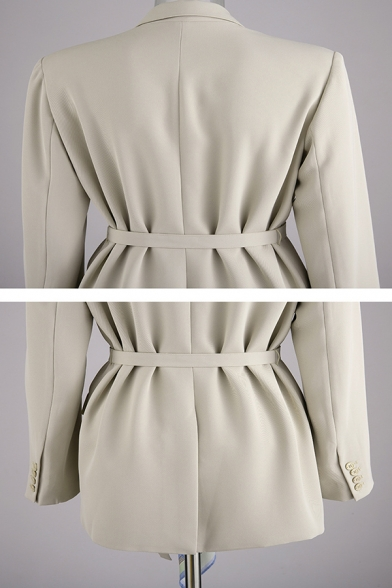Apricot Formal Long Sleeve Notch Collar Button Down Flap Pockets Buckle Belted Printed Scarf Detached Fitted Blazer for Women