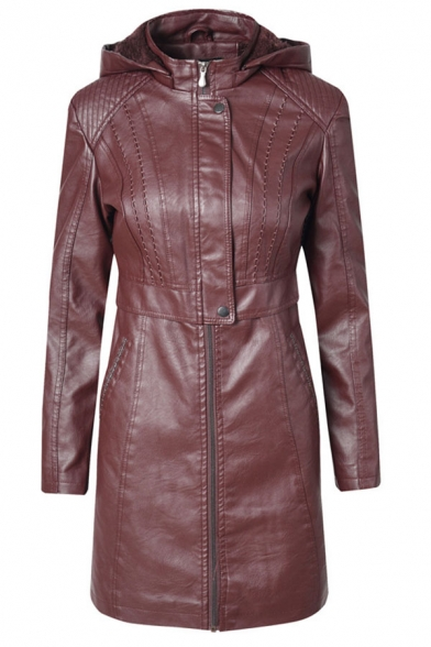 Casual Basic Plain Long Sleeve Hooded Button Zipper Front Slim Fit Midi Leather Jacket for Women