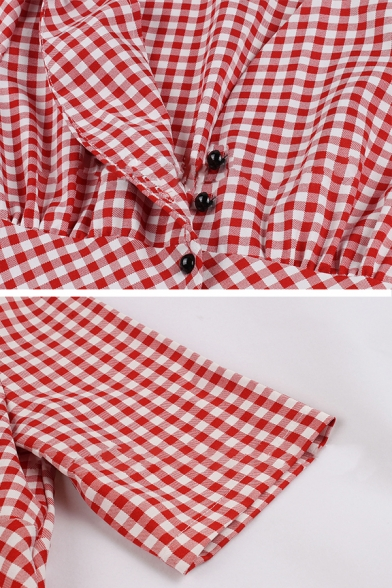Chic Girls' Red Short Sleeve V-Neck Button Down Plaid Pattern Pleated Mid Flared Dress