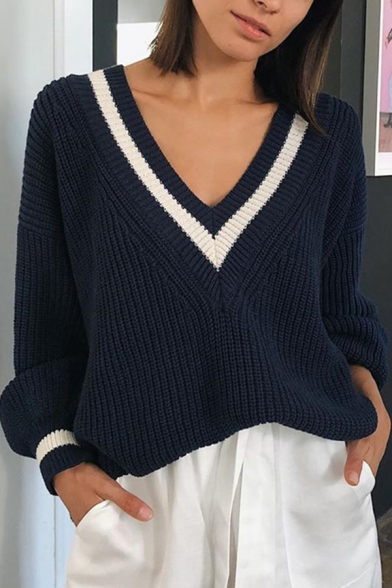 Chic Women's Balloon Sleeve Deep V Neck Contrasted Piped Chunky Knit Baggy Pullover Sweater in Royal Blue