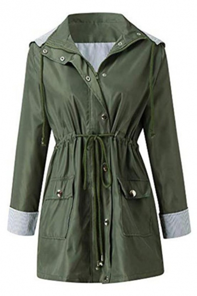 Cool Female Roll Tab Sleeve Hooded Button Zip Front Drawstring Stripe Liner Relaxed Trench Coat