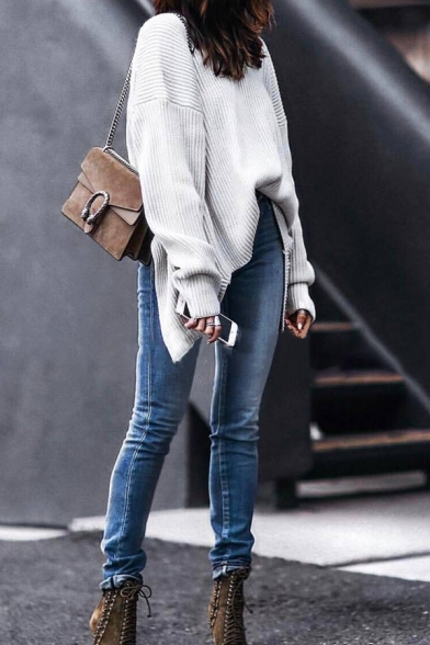 Cool White Long Sleeve Boat Neck Twist Slit Back Asymmetric Boxy Pullover Sweater for Ladies, LM580591