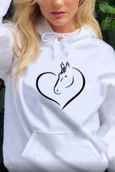 Creative Horse and Heart Pattern Long Sleeve Oversized Drawstring Hoodie for Women, Black;pink;white;gray;yellow, LC583297