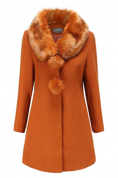 Elegant Ladies Long Sleeve Fuzzy Collar Button Down Pompom Decoration Fitted Plain Wool Coat