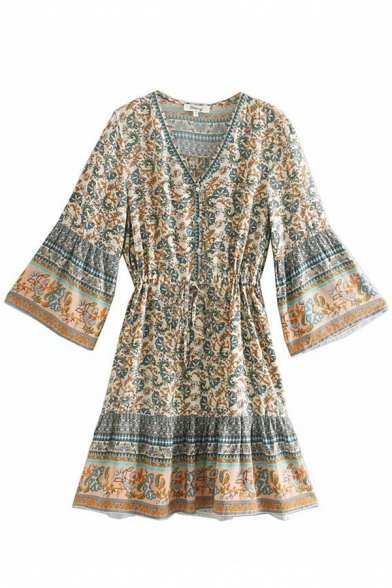 Ethnic Retro Women' Bell Sleeve V-Neck Button Front All Over Floral Print Drawstring Waist Pleated Midi A-Line Dress, Red;apricot, LM584666