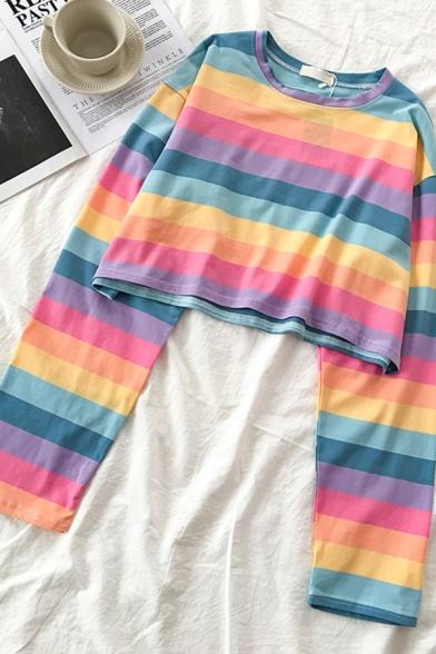 Fancy Girls' Long Sleeve Crew Neck Stripe Patterned Loose Crop Tee, Blue;light blue, LM583590