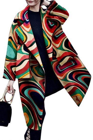 Fashion Unique Ladies' Long Sleeve Notch Collar Abstract Pattern Pocket Side Boxy Long Open Coat in Red