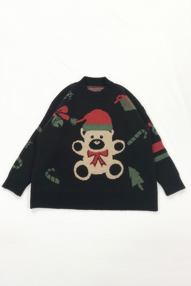 Girls Stylish Christmas Teddy Bear Pattern Long Sleeve Loose Knitted Pullover Sweater LM579766 фото