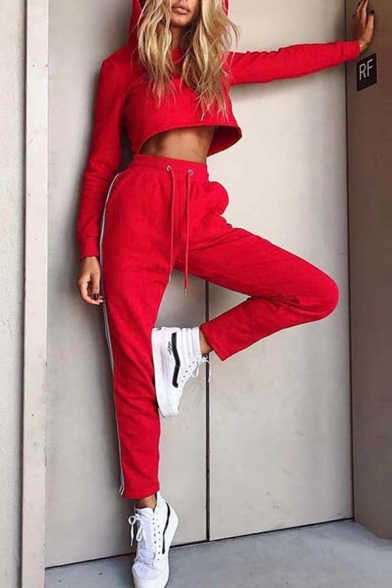 Ladies Leisure Red Loose Cropped Hoodie with Striped Side Pants Two Piece Active Set