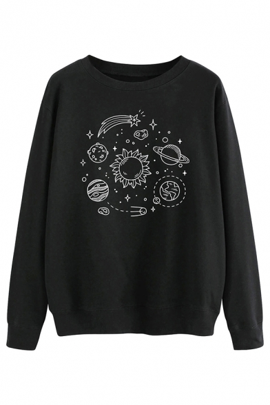 Lovely Planet Pattern Long Sleeve Crew Neck Loose Fit Pullover Sweatshirt, Black;gray;yellow, LC583284
