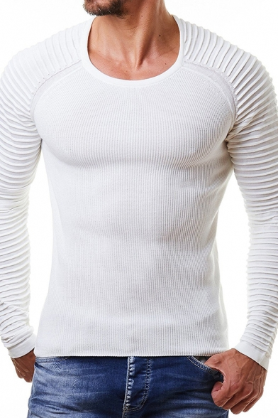 Men's Casual Fashion Plain Pleated Long Sleeve Round Neck Slim Fit Knitwear Pullover Sweater