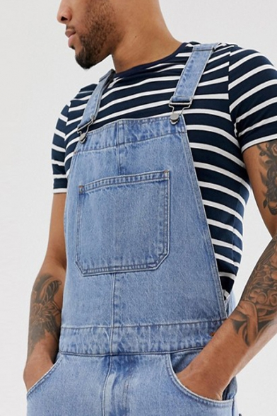 Mens Casual Fashion Light Blue Ripped Shredded Jeans Shorts Overalls