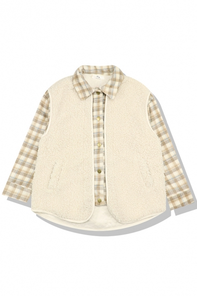 Preppy Looks Long Sleeve Lapel Collar Button Down Plaid Print Sherpa Oversize Jacket in Beige for Girls