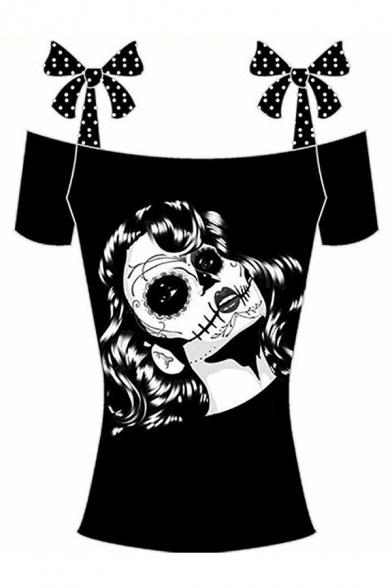 Punk Ethic Girls' Short Sleeve Bow Tie Strap Skull Pattern Slim Fit Tee Top in Black