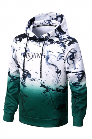 Unique Chinese Style Ink Painting Letter Printed Color Block Long Sleeve Pullover Hoodie
