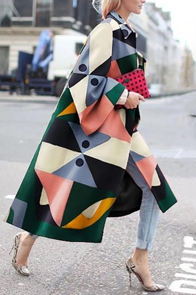 Women's Chic Street Bell Sleeve Lapel Collar Geo Printed Baggy Maxi Coat in Green