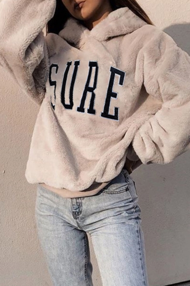 Women' Cool Casual Long Sleeve Letter SURE Printed Fluffy Baggy Hoodie in Nude, LM580752