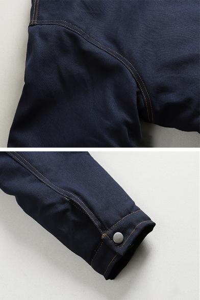 Women Warm Street Long Sleeve Hooded Drawstring Zip Up Press Button Flap Pockets Contrasted Buckle Detail Oversize Denim Jacket in Navy
