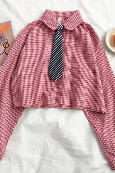 Womens Trendy Long Sleeve Lapel Collar Button Down Plaid Pattern Loose Fit Crop Shirt with Stripe Tie