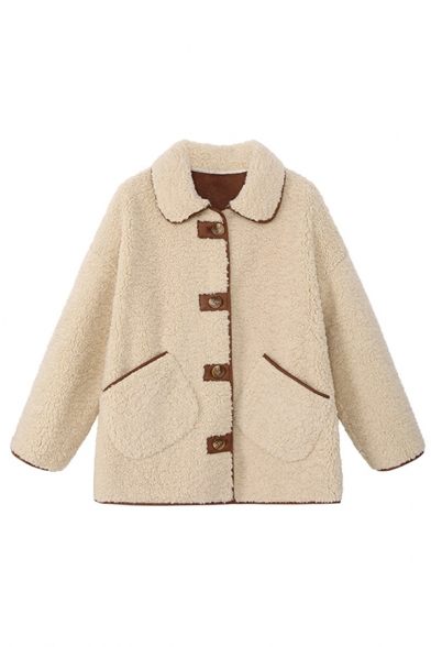 Apricot Fashion Long Sleeve Lapel Collar Button Down Pockets Side Sherpa Contrast Piped Baggy Jacket for Girls