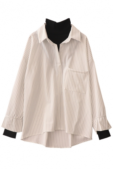 Chic Street Long Sleeve High Neck Stripe Printed Pocket Patched Oversize False Two-Piece Shirt for Women