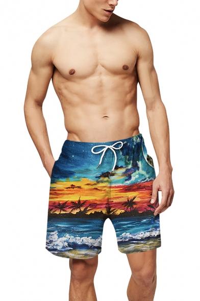 Classic Coconut Tree Beach Sunset 3D Print Drawstring Waist Loose Fit Casual Swim Shorts