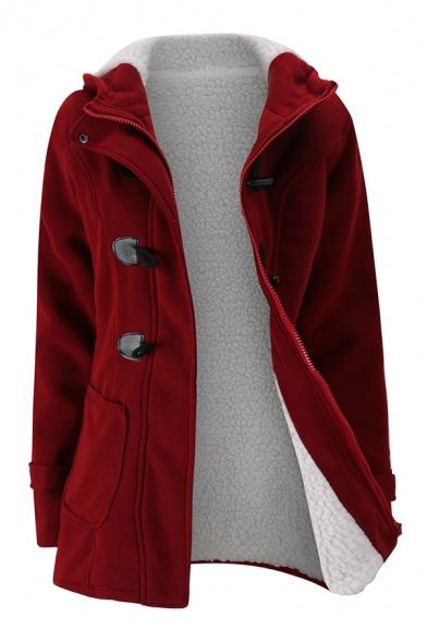 Classic Girls' Long Sleeve Hooded Zipper Front Sherpa Lined Slim Fit Plain Midi Duffle Coat, Black;burgundy;dark blue;dark gray;light gray;army green;coffee, LM579421