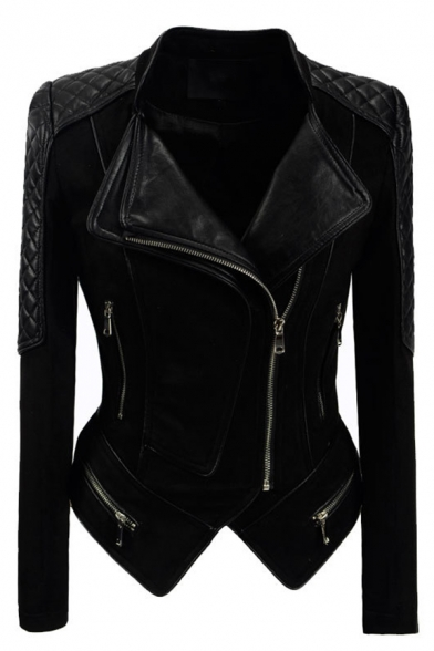 Cool Street Ladies' Long Sleeve Lapel Neck Zip Decoration Leather Patched Asymmetric Slim Fit Jacket in Black