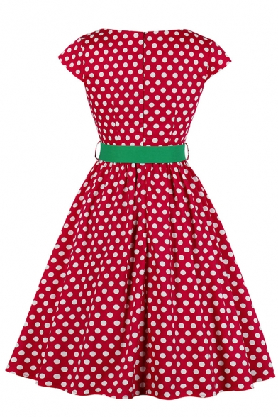 Cute Fancy Girls' Short Sleeve Boat Neck Zipper Back Polka Dot Print Belted Contrasted Midi Pleated Flared Gown Dress