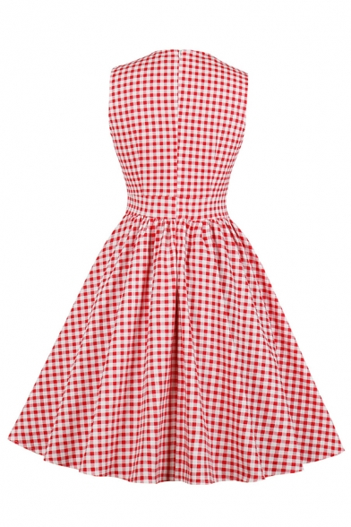 Cute Formal Sleeveless Turn Down Collar Plaid Printed Bow Tie Decoration Zip Back Midi Pleated Flared Dress for Women