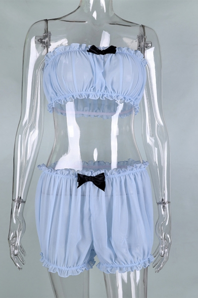 Edgy Girls Stringy Selvedge Bow Embellished Crop Tube Top with Shorts Blue Gauze Co-ords