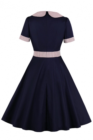 Formal Pretty Short Sleeve Bow Tie Neck Stripe Print Patched Zip Back Midi Navy Pleated Flared Dress for Girls