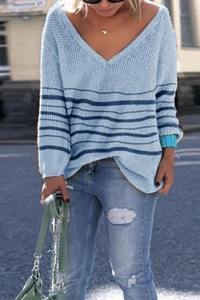 Girls' Basic Trendy Long Sleeve Deep V-Neck Stripe Printed Loose Fit Plain Knit Pullover Sweater Top, White;beige;light blue;purple, LM576824