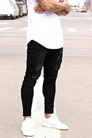 Metrosexual Men's Casual Plain Frayed Shredded Washed Denim Skinny Jeans