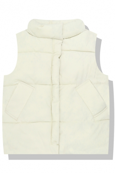 Plain Thickened Sleeveless Stand Collar Zipper Front Pockets Side Fitted Down Vest for Women