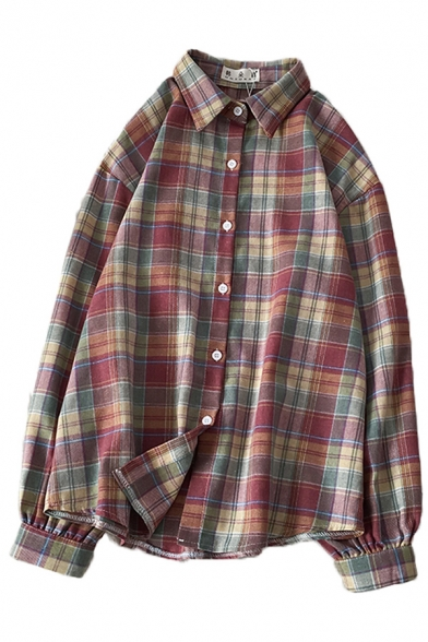 Red Trendy Long Sleeve Lapel Collar Button Down Plaid Printed Oversize Shirt for Women