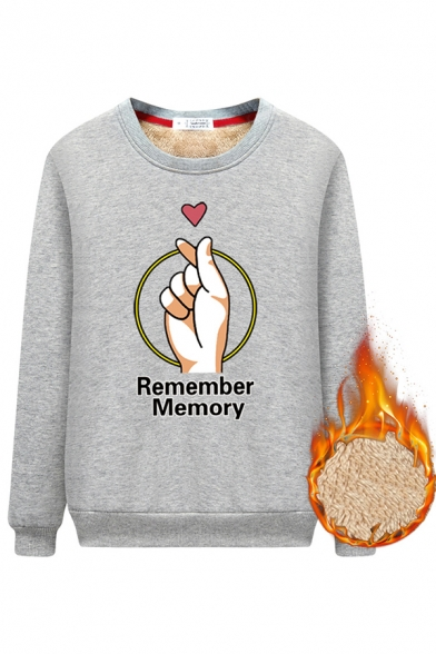 Trendy Girls' Long Sleeve Crew Neck REMEMBER MEMORY Letter Finger Heart Print Fitted Sherpa Lined Sweatshirt, Black;blue;pink;red;light purple;grey, LM576297