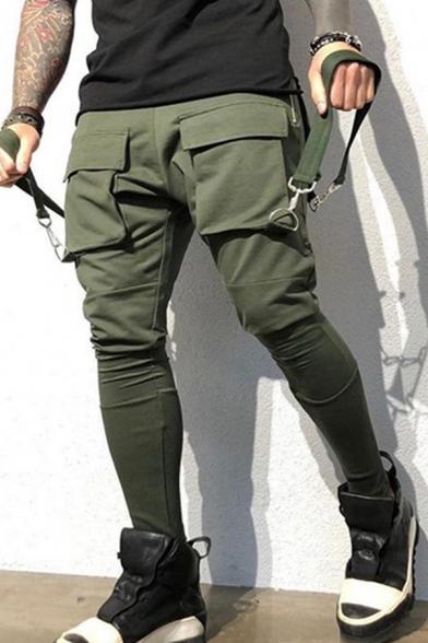 Unique Ribbon Decoration Flap Pocket Skinny Fit Hip Hop Cargo Pants Casual Trousers