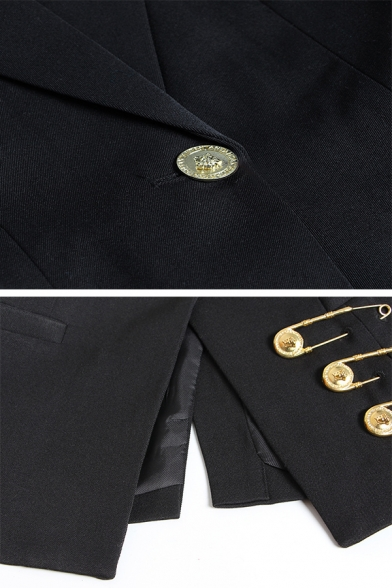 Boutique Ladies' Long Sleeve Notch Collar Button Front Pin Decoration Slit Back Slim Fit Blazer in Black