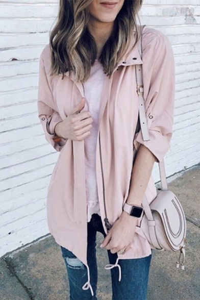 Casual Girls' Long Sleeve Lapel Neck Zip Button Front Drawstring Plain Relaxed Fit Trench Coat