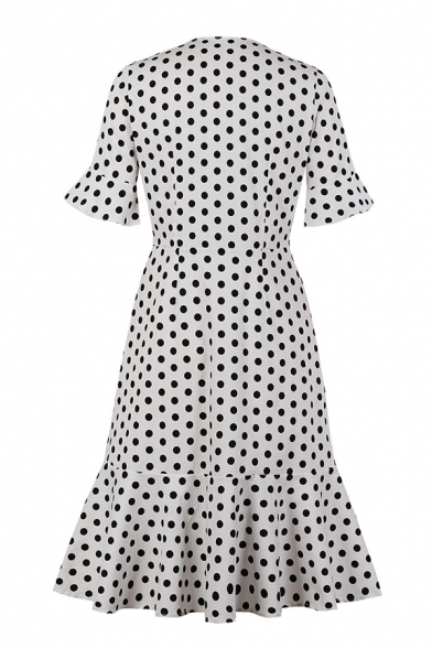 Chic White Short Sleeve V-Neck Bow Tie Ruffle Trim Polka Dot Button Down Maxi Pleated A-Line Prom Dress for Girls