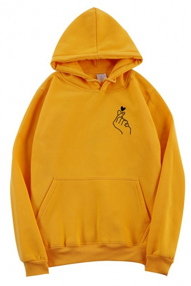 Cool Street Long Sleeve Drawstring Finger Heart Pattern Kangaroo Pocket Baggy Pullover Hoodie for Female, Black;burgundy;white;gray;yellow, LM576745