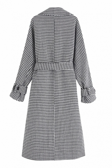 Elegant Ladies' Long Sleeve Notch Collar Bow Tie Waist Button Detail Houndstooth Printed Relaxed Fit Long Trench Coat in White