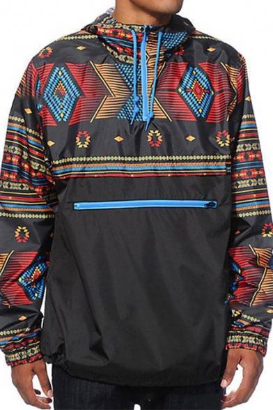 Exclusive Tribal-Geo Print Long Sleeve Quarter Zip Placket Loose Black Hooded Windbreaker