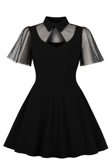 Fancy Black Short Sleeve Lapel Neck Sheer Mesh Patched Midi Pleated Flared Dress for Women