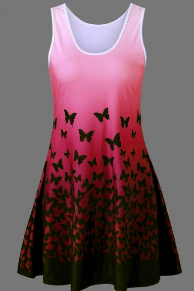 Fancy Girls' Sleeveless Round Neck All Over Butterfly Printed Pleated Tank Top