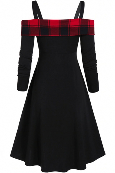 Fancy Trendy Girls' Long Sleeve Cold Shoulder Plaid Print Patched Button Front Crisscross Midi Pleated Flared A-Line Dress