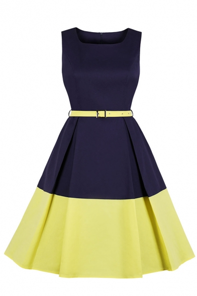 Formal Women's Sleeveless Round Neck Zipper Back Polka Dot Print Contrasted Buckle Belted Midi Pleated Flared Dress