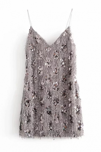 Gray Chic Sparkle Sleeveless Sequined Fluffy Mini Swing Cami Dress for Women, LM584737