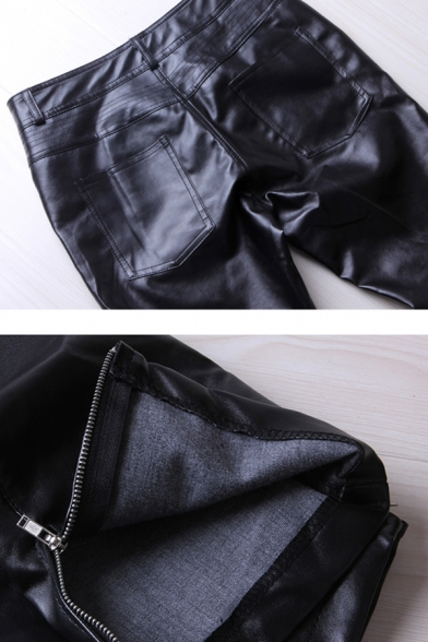 Hot Popular Black Plain PU Pants Skinny Fit Casual Stretchy Trousers for Men